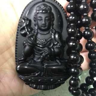 【全新品】高質黑曜石雕八大守護神吊墜頸鍊 Agate obsidian平安祈福項錬