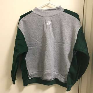 Green X grey colour block sweater