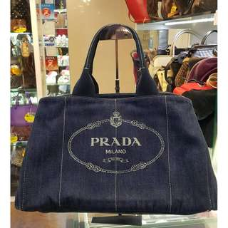 Prada Denim Tote Bag Blue Canvas Shoulder Hand Bag 普拉達 藍色 帆布 手挽袋 手袋 肩袋 袋