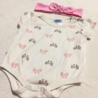 NB Romper with Pink hairband