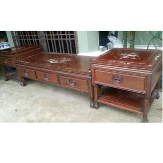 Chinese Mother Of Pearls Rosewood Antique Low Cabinet Comes On 3 Pcs.. Suitable As Tv Cabinet