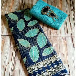 Kain batik motif daun dan brokat tosca