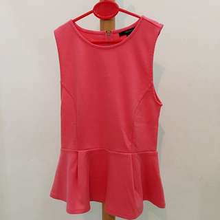 FOREVER 21 PINK PEPLUM TOP SIZE S