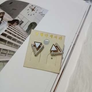 White triangle earring