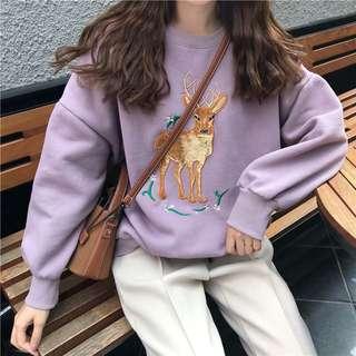 2色*甜美刺繡小鹿刷毛大學T🌸A1151