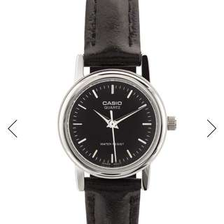 Casio Women Black Dial Leather
