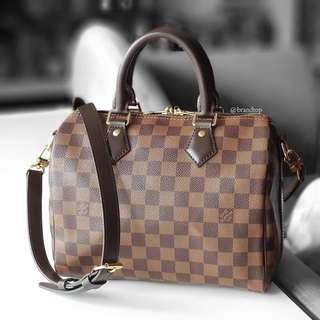 Authentic Louis Vuitton Damier Ebene Speedy Bandouliere 25 LV