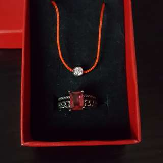 法國閃石紅繩 + 仿紅寶石戒指 set