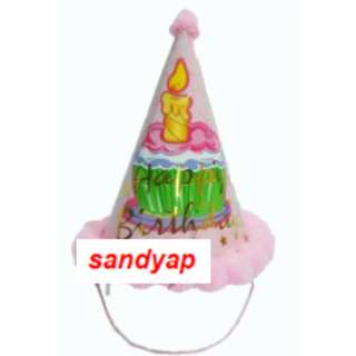"Party Hat Pink Design with Fluffy Balls - ""Princess & Happy Birthday"""
