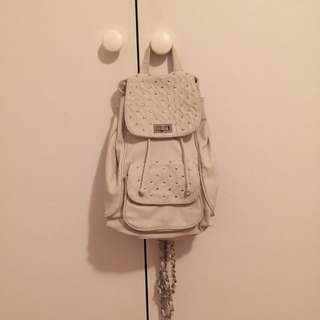 Cream Pleather & Silver Studded Backpack