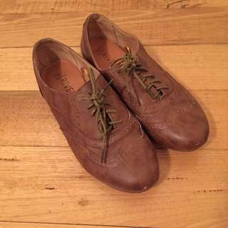 Brown Pleather / Leather Lace Up Loafers