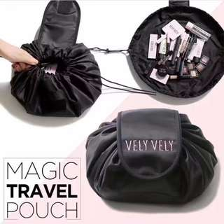 Instocks / Ready Stocks Brand New Vely Vely Magic Travel Pouch (beauty makeup cosmetics mac korean kbeauty luggage organisation large drawstring black)