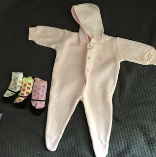 New Baby baby girl overall newborn + 0-12mos socks (worn once didn't fit too small)