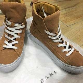 全新//Zara 帆布綁帶 高筒帆布鞋  懶人鞋 休閒鞋 37號(23.5號)#二手品牌好鞋#女裝五折出清#含運最划算#手滑買太多