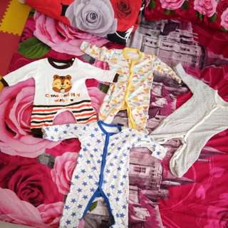 4pcs +1 sleep suits anak 0-1 tahun