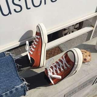楓葉橘 絨面 帆布鞋