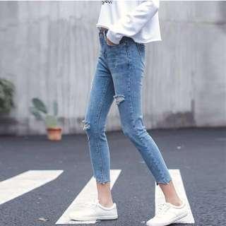 韓版 破壞丹寧顯瘦牛仔褲#五百元單寧#五百元丹寧