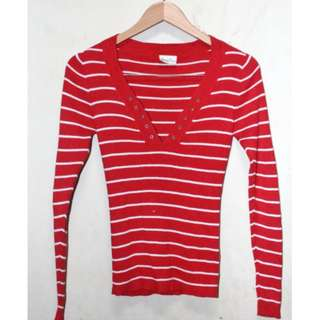 Knitted Red Stripes Sweatshirt Jacket from London