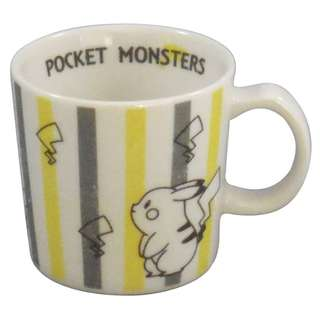 Pokemon centre Pocket monsters 寵物小精靈 比卡超 pikachu 黄色灰色間條花紋杯 有耳杯 玻璃杯 陶瓷杯 水杯