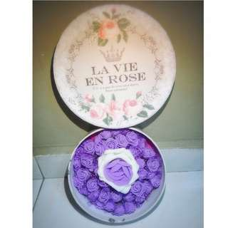 One and Only Ivory Purple Roses Bouquet Gift Box Flower for Gifts Valentines Day Mothers day Gifts