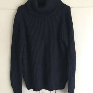 Navy blue turtleneck jumper