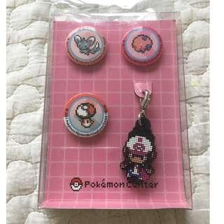 Pokemon White pins and keychain