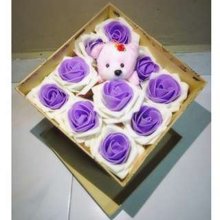 Cute One and Only Teddy Bear Ivory Purple Roses Bouquet Gift Box Flower for Gifts Valentines Day Mothers day Gifts
