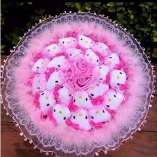 Cute (21) Hello Kitty Plushie Pink Rose Bouquet Flower for Gifts Valentines Day Gifts (21 set of Hello Kitty Plushies)