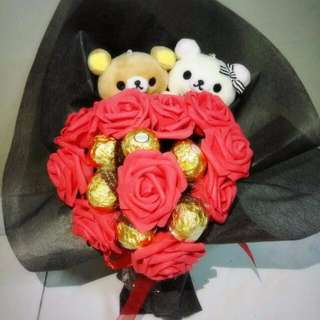 Cute Heart Shape Rilakkuma Couple Plushie Ferrero Rocher Dazzling Red Roses Bouquet Flower for Gifts Valentine's Day Mother's Day Gifts ( 2 Couple Rilakkuma Plushie )