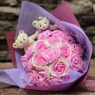 Cute Couple Teddy Bear Plushie Ivory Pink Rose Bouquet Flower for Gifts Valentines Day Gifts