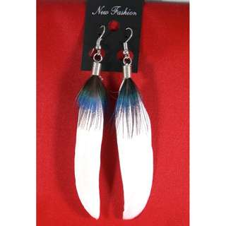 White with Blue Accent Feather Earrings