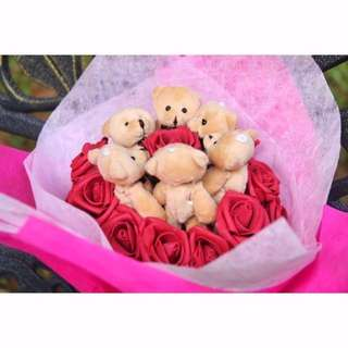 Cute Brown Teddy Bear Plushie Red Roses Bouquet Flower for Gifts Valentines Day Mothers day Gifts ( 6 Teddy Bear )