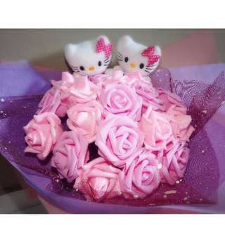 Cute Hello Kitty Couple Plushie Dazzling Pink Roses Bouquet Flower for Gifts Valentine's Day Mother's Day Gifts ( 2 Couple Hello Kitty Plushie )