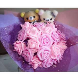 Cute Rilakkuma Couple Plushie Dazzling Pink Roses Bouquet Flower for Gifts Valentine's Day Mother's Day Gifts ( 2 Couple Rilakkuma Plushie )