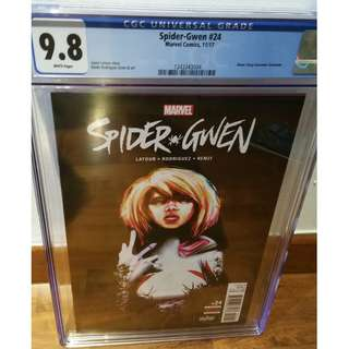 Spider-Gwen #24 graded CGC 9.8 with white pages. First print. First appearance of Gwenom!