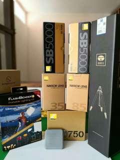 Nikon d750 + 35mm and 85mm lens + 2x sb5000 flash + flash accessories