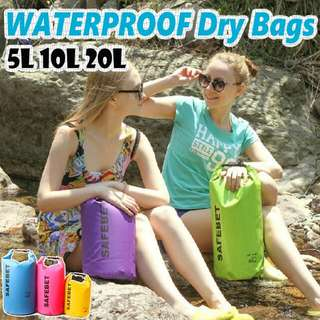 【SAFEBET】5L10L 20L WATERPROOF Dry Sling Bags Pouch Backpack Bag BoatingSwimming Snorkeling Beach Bike