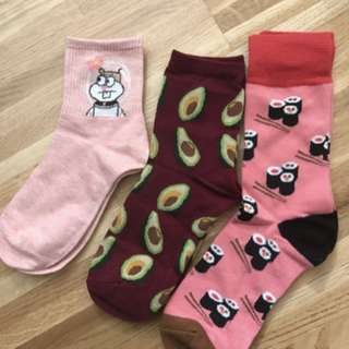 korean ulzzang cute pink sushi socks