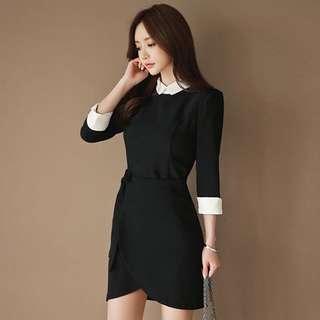 韓版OL職業七分袖假兩件修身繫帶連身裙洋裝