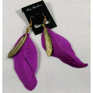 Violet Feather Earrings