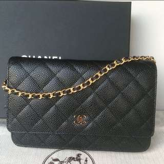 New Chanel WOC Wallet On Chain Shoulder Hand Bag Black Caviar 香奈兒