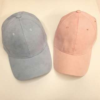 🚚 韓系素色鴨舌帽 淺藍
