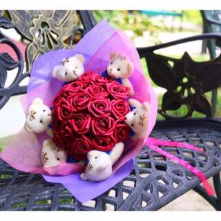 Cute Teddy Bear Plushie Red Roses Bouquet Flower for Gifts Valentines Day Gifts ( 6 Teddy Bear Plushie)