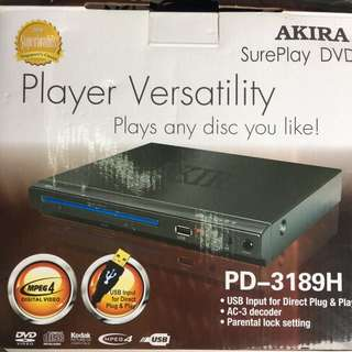 Akira Sureplay DVD player PD-3189H with USB, CD and Mpeg4 AC-3 decoder and parental lock BNIB