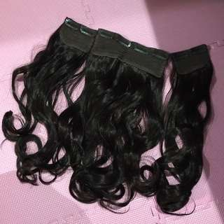 Korea dark chocolate hair long curly clip