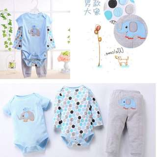 Blue Elephant 3 in 1 Romper Set