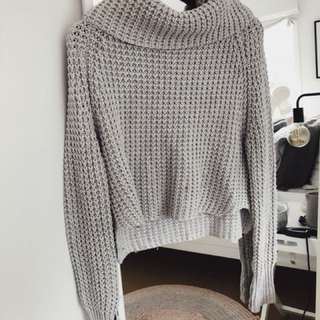 Grey jumper with chunky neck