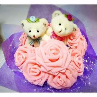 Cute Couple Teddy Bear Plushie Pink Roses Purple Bouquet Flower for Gifts Valentines Day Gifts ( Couple Teddy Bear )
