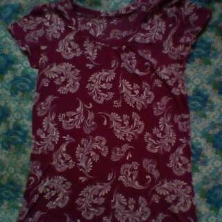 Floral tops maroon color