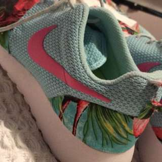 Custom Painted Flamingo Nike Roshes US8